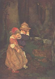 Hansel and Gretel. This illustration is from: Coussens, Penrhyn W. A Child's Book of Stories. Jessie Willcox Smith, illustrator. New York: Duffield and Company, 1911.    This is actually the illustration for Babes in the Wood, but it works well for Hansel and Gretel, too.
