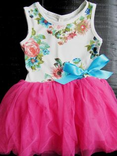 Baby Girl Clothes - Girls Dresses - Tutu Dress - Pink Floral TuTu Dress - Girls First Birthday Oufit -Girls First Easter Outfit - on Etsy, $19.99