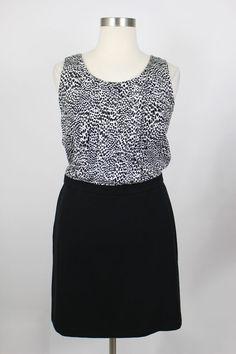 NWT Ann Taylor Loft Black & White Print Mixed Media Twofer Dress Size 14 #AnnTaylorLOFT #ShiftDress #Work