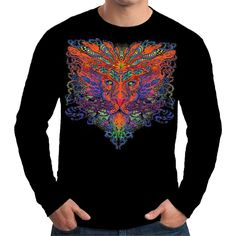 Velocitee Mens Long Sleeve T Shirt Psychedelic Trippy Lion Sacred Big Cat A18002 #Velocitee