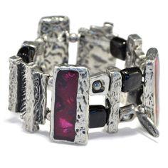 Chunky dark pink bracelet, expandable bangle, pewter bracelet, pink statement bracelet, cherry color arm party, wide stretch bangle. by BijouChantaleGelinas on Etsy