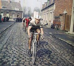 Eddy Merckx in the 1967 Paris-Roubaix which was the last edition that actually started in Paris (more recent editions have started in Compiègne). Picture was found on Cycling Art Blog.