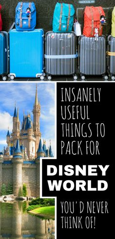 If you're heading out to Disney and wondering what to put in your luggage you're going to love this insanely useful Disney packing list! packing 44 Insanely Useful Things to Pack for Your Disney Vacation Packing List For Disney, Disney World Packing, Disney World Vacation Planning, Walt Disney World Vacations, Disney Planning, Trip Planning, Vacation Packing, Packing Tips, Travel Packing