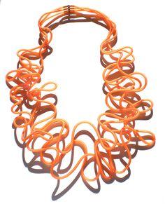 Necklace rubber and steel core MEDEA Tangerine di URBANDi su Etsy