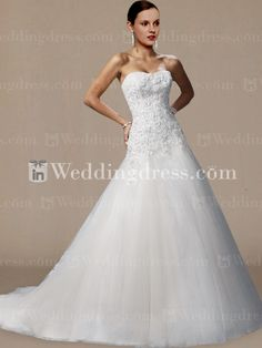 Strapless Tulle Lace A-line Drop Waist Wedding Gown DE200 New