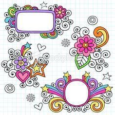 Psychedelic Notebook Doodle Design Elements