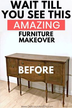 Transform a Vintage Buffet Table using a blended and layered paint technique. This truly is one of a kind paint technique and the results are stunning| Repurpose thrifted furniture by layering and blending paints to create a stunning ombre effect| Learn how to refinish a vintage buffet table using Gold Leafing. #buffettable #repurposing #thrifted #tablemakeover #blending #layering #vintagebuffettable