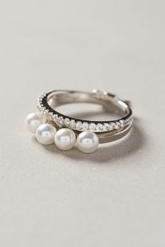 Gold Philosophy Quadruple Pearl Ring #anthrofave