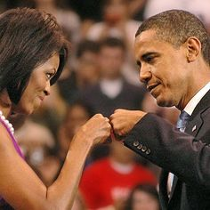 President Obama and First Lady Michelle Obama fist bump