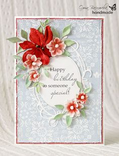 Lovely card from the Memory Box DT using Fresh Foliage, Findlay Frame, Fancy Blossoms & Tiffany Frame dies, and Brioche Paper Collection ~ everything is available at www.Stampassion.com!