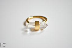 vergoldeter Ring mit Quarzstein // gilded ring with quartz crystal via DaWanda.com