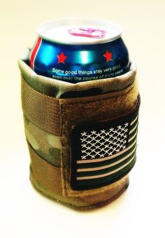 Tactical Multicam Military Made in the USA. Beer camo Coozie Koozie cozy Cooler with Velcro Us Flag Tactical Clothing, Tactical Gear, Paintball, Airsoft, All You Need Is, Tac Gear, Morale Patch, Military Gear, Cool Gear