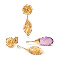 Liz Earle Wild Rose Stud Earrings with Adaptagem leaf and crystal drops