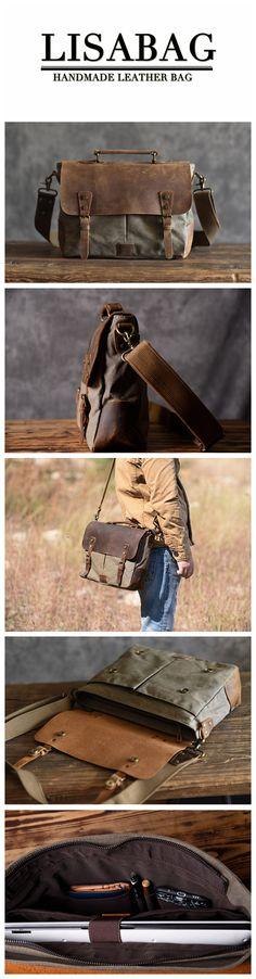 Handmade Army Green Canvas Leather Briefcase Messenger Bag Handbag Shoulder Bag Laptop Bag 1807
