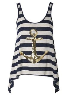 gold sparkle anchor, how cute with white shorts or jean capri's