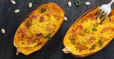Warum immer ganz klassisch Spaghetti Carbonara, wenn es auch mit Spaghettikürbis geht?