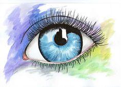 oko, akwarela, tusz,odbicie