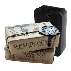 Hand-wrapped, tethered, and wax-sealed in batches of 500, Rebels Refinery's Wealth of Man Organic Soap Bar is 4.7 ounces of gentlemanly joy. These bold black bars are jam-packed with the finest organi