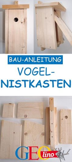 Build nesting box: That& how it works !- Nistkasten bauen: So geht's! GEOlino shows you how to build the perfect nesting box. Diy Garden Projects, Wood Projects, Garden Ideas, Wood Crafts, Diy Crafts, Rustic Crafts, Box Building, Bird House Kits, Nesting Boxes