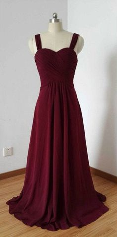 Burgundy Chiffon Prom Dresses Spagetti Straps pst0196