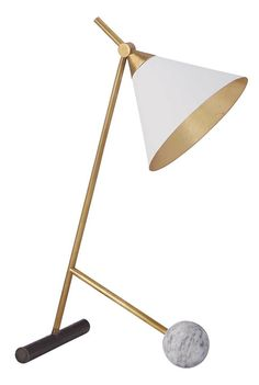 KELLY WEARSTLER | CLEO TABLE LAMP. Modern and sophiticated bronze and marble table lamp