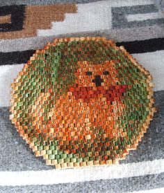 Vintage Bamboo Beaded Trivet Christmas Cat by lookonmytreasures, $13.00