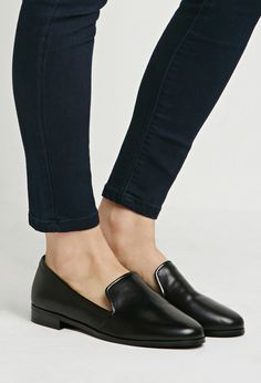 $24, Forever 21 Faux Leather Loafers. Sold by Forever 21. Click for more info: https://lookastic.com/women/shop_items/306471/redirect
