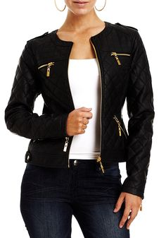 Collarless Quilted Jacket beautiful womens leather jacket to buy. Lovely fashion black leather jackets for women Faux Jacket, Faux Leather Jackets, Quilted Jacket, Outfits Damen, Mode Chic, Spring Jackets, Jacket Style, Pull, Fall Fashions