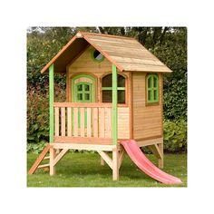 Gran #casita #infantil fabricada en #madera, incluye #tobogan. Una idea fantástica para crear un pequeño punto de #juego para #jardin o interior. A la venta en http://www.parquedebolas.com