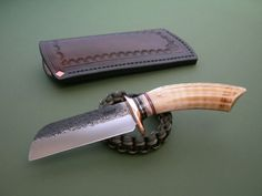 """Miles Welze Knives ~ James Behring, Jr. Carver / Hippo Tooth 4-1/4"""" Hammer Marked Blade / Copper Hilt / Short Stack / Pinned Hippo Tooth Mudbone Pouch"""