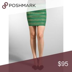 Pleasure Doing Business Green Gold Bandage Skirt NWOT Pleasure Doing Business 6 band Bandage Skirt. In a gorgeous green and gold pattern. Super cute party time holiday skirt that just hugs you in all the right places. Super slimming. Sz M. Perfect for all those holiday parties! Wear it with t shirts, camis, tanks, or silky tops. Mini length. In new condition. Pleasure Doing Business Skirts Mini