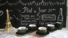 Vintage French 4 Cups & Saucers and Milk Jug Apilco and  Porcelain Bistro Christmas Green...French Café...French Brasserie...Salon de thé... by ImagedeVintage on Etsy