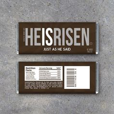 Easter HE IS RISEN Candy Bar Wrappers – Great for Easter baskets and spreading the good news.