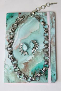 Tamarindo Earrings in Mint and Izzy Necklace by SISOO