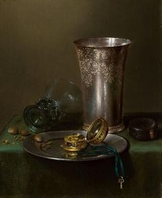 Bijl Van Urk - willem Claesz Heda a still life with silver goblet and a watch on a pewter plate