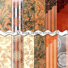 Sale-Black and Orange Damask Digital Paper-12 x12 Halloween Digital Paper Black and Orange invitation black and orange scrapbook paper BaerDesignStudio 3.50 USD