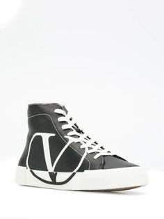 Valentino Valentino garavani vlogo printed sneakers in Black Sneakers For Sale, High Top Sneakers, Valentino Sneakers, Valentino Garavani, Lace Up, Printed, Leather, Shopping, Shoes