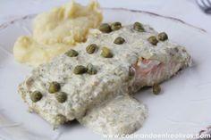 Cocinando entre Olivos: Salmón con salsa de alcaparras. Receta paso a paso.