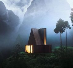 This structure is amazing / dark cabin / lights on / what dreams are made of / #sexycabin