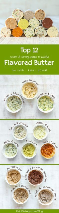 Top 12 Sweet & Savory Flavored Butter Recipes (low-carb, keto, primal) from Martina at KetoDiet #healthylowcarb #healthy #lowcarb