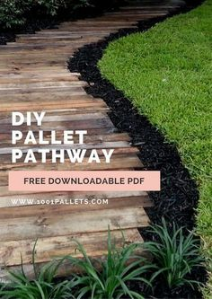 """Outdoor Pallet Projects Free downladable step by step tutorial to make your pallet pathway. - This tutorial by François from """"Torpoon Home Creation"""" will show you how to built a pallet garden pathway for your garden! Backyard Walkway, Backyard Landscaping, Modern Backyard, Backyard Projects, Garden Projects, Pallet Projects, Pallet Ideas, Diy Pallet, Outdoor Pallet"""