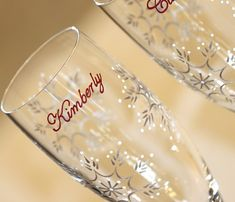 Snowflake Champagne Toasting Flutes, Glasses, Wedding, Painted, Bride, Groom, Personalized, Dated on Etsy, $62.00