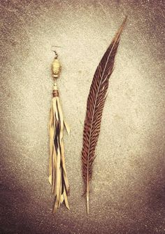 GOLDEN BUDDHA tribal leather earring // gypsy hippie by SiamicWear, €15.00