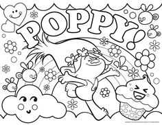 Magnifique coloriage à imprimer des Trolls, avec la Princesse Poppy | A partir de la galerie : Les Trolls