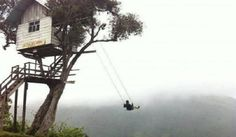 """""""Swing at the End of the World"""" at Casa del Arbol, Banos, Ecuador. I want to make this happen on our """"swing"""" through Ecuador! End Of The World, Top Photos, Scary Photos, A Well Traveled Woman, Sites Touristiques, Equador, In The Tree, Big Tree, Places To See"""