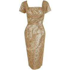 Preowned 1950's Ceil Chapman Metallic-gold Lame Ruched Hourglass... (2.520 BRL) ❤ liked on Polyvore featuring dresses, brown, cocktail dresses, floral dresses, evening party dresses, floral evening dresses, brown cocktail dress and high-low dresses