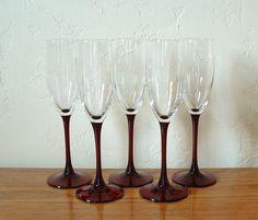 Vintage Champagne Flutes Glasses Red Stem Set of by TheFrabjousDay