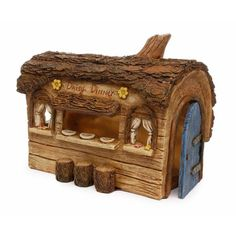 Designed as a charming diner for your fairies, this lovely resin piece will make a delightful addition to any garden. This log diner features a door that opens and small log stools. Recipient: Women,