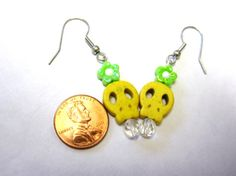 Yellow Sugar Skull Earrings Day Of The Dead by sweetie2sweetie, $5.99