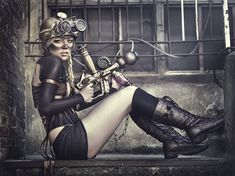 Model: Rebecca Evers  Styling: Sewing Alassie Real  Makeup: Real Sewing Alassie  Steampunk goggles and accessories: Juanma Zombie  Study and help during the workshop: Study Area  Photography and editing: Rebeca Saray